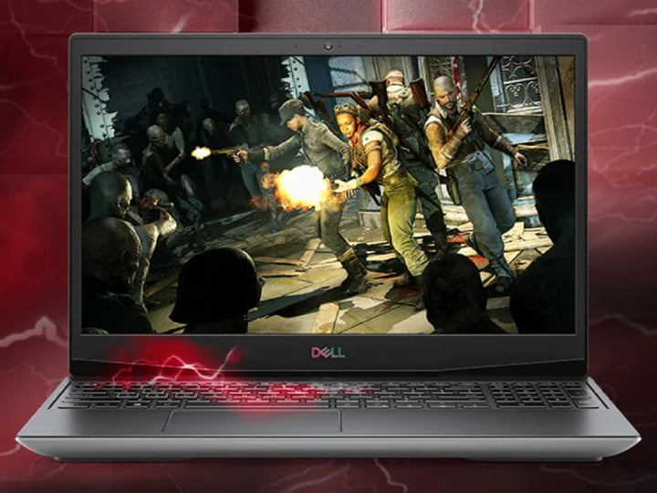 Dell gaming laptop with screenshot of Zombie Army 4: Dead War on the display.