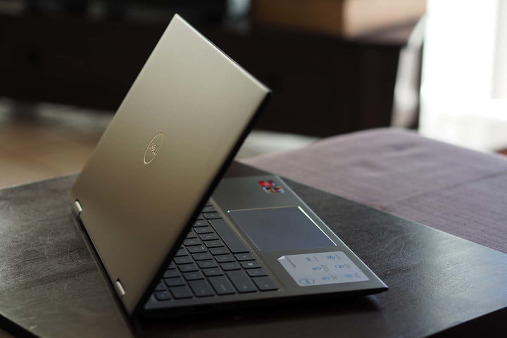 Angled view of the backside and keyboard of the Dell Inspiron 14 2-in-1.