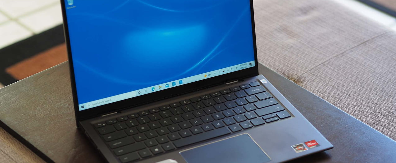 Dell Inspiron 14 2-in-1 sitting on a table.