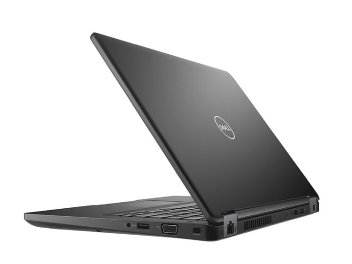 A refurbished Dell laptop that's open and viewed from the side.