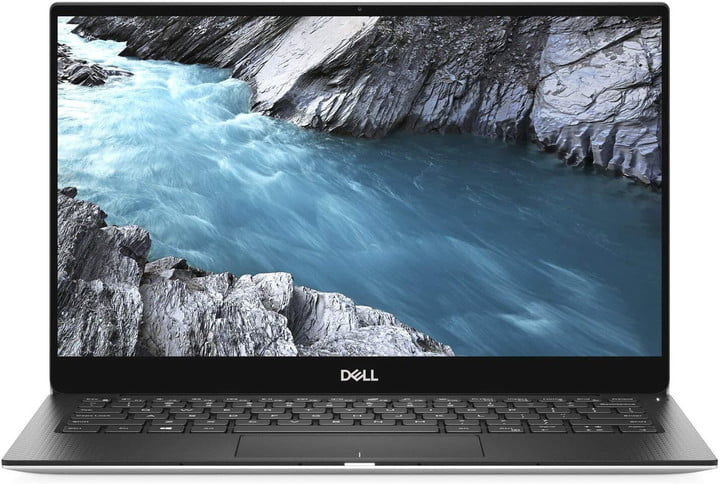 The black version of the Dell XPS 13 laptop with a nature scene on the display.