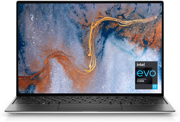 Dell xps 15 laptop with screen opened to show background and keyboard on a white background.
