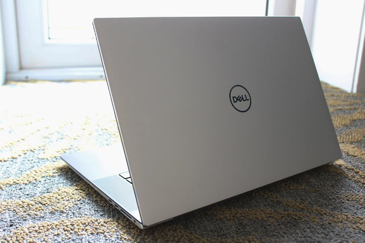 The Dell XPS 17, opened in front of a window.