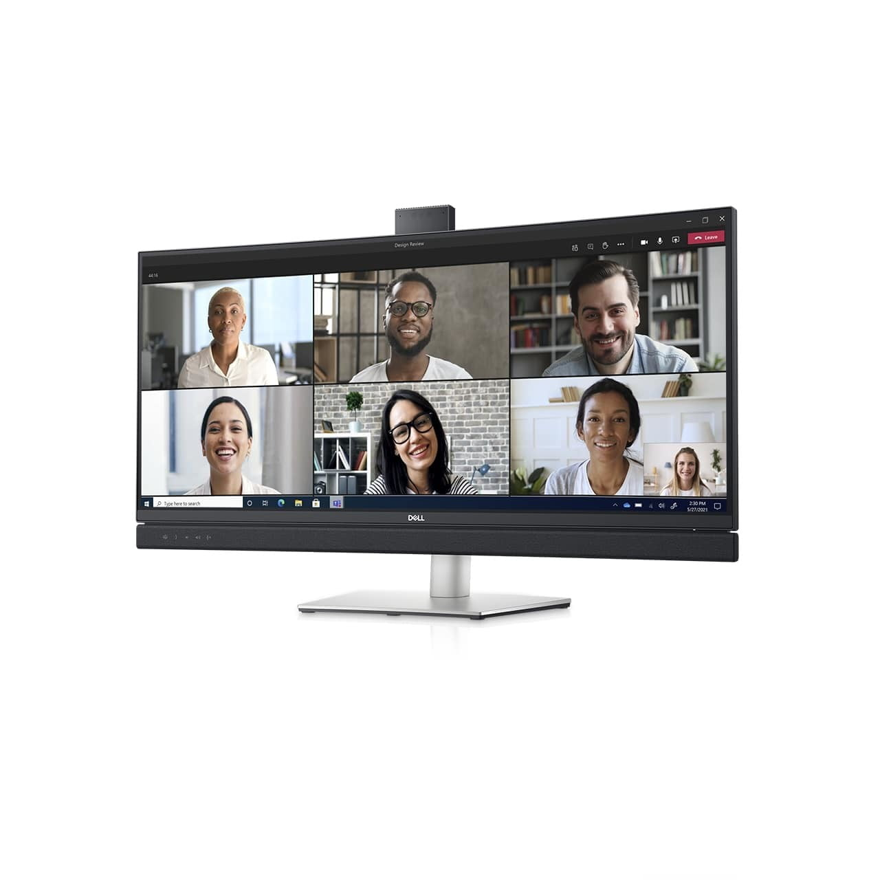dell refreshes ultrasharp monitors ces 2021 34 video conferencing monitor front left angle screen fill 1