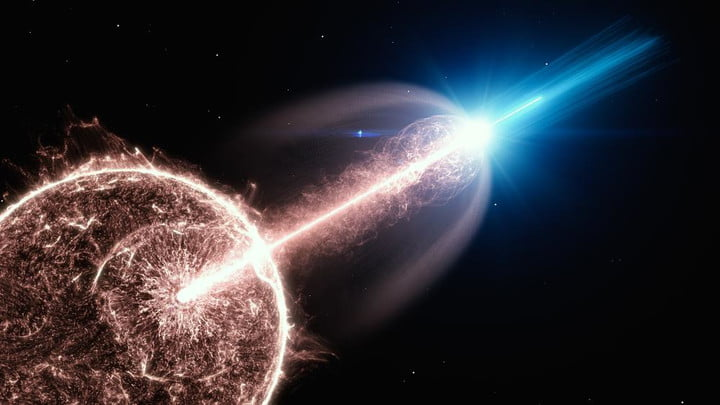 Artist's impression of a relativistic jet of a gamma-ray burst (GRB), breaking out of a collapsing star, and emitting very-high-energy photons