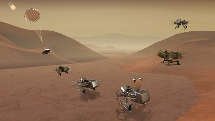 Illustration of Dragonfly mission concept of entry, descent, landing, surface operations, and flight at Titan.