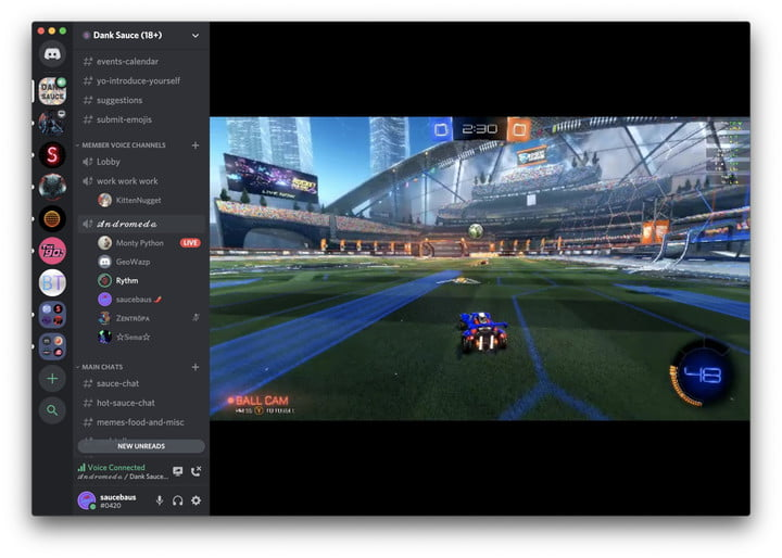 Streaming a game in Discord.