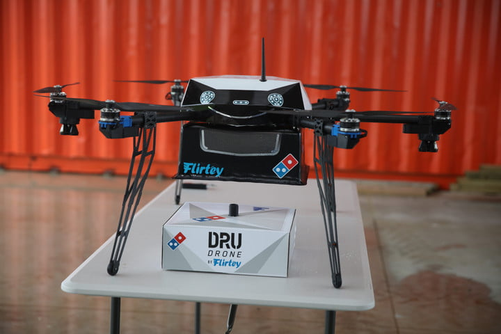 flying pizza looks to be on its way new zealand as dominos demos drone delivery flirtey