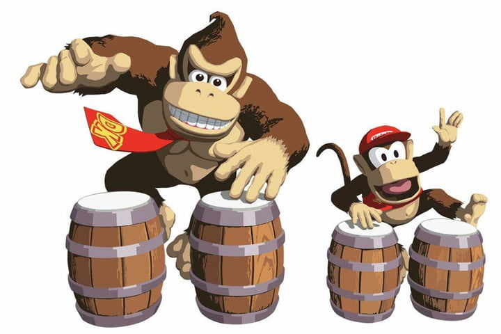Donkey Kong and Diddy Kong play the drums in the Donkey Konga series.