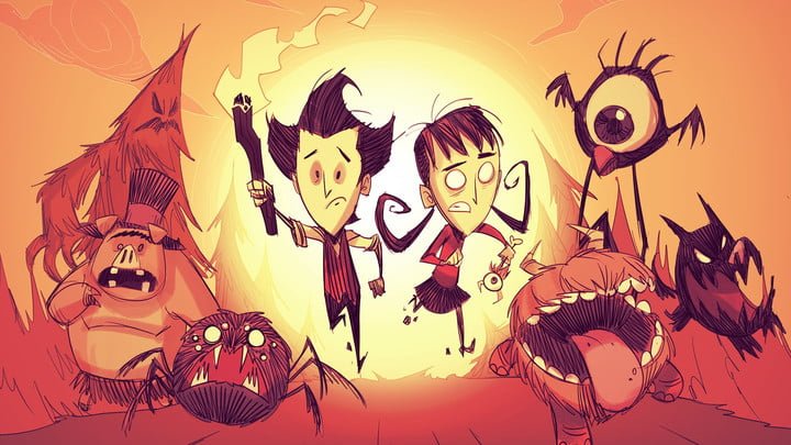 Don't Starve characters running.