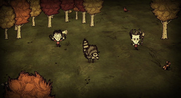 A hissing racoon between two players holding an axe and spear.
