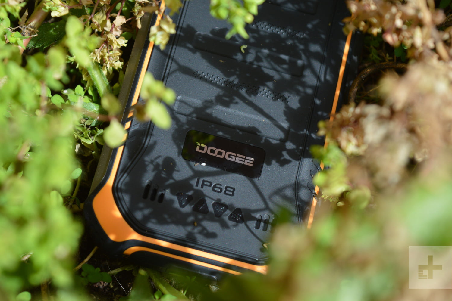 doogee s40 review in bush close up logo