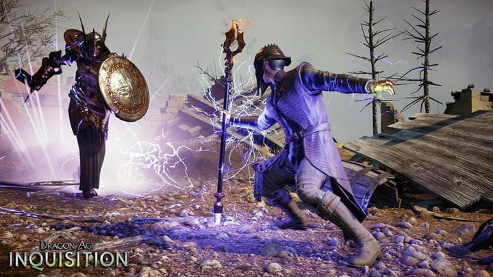 A mage casting a spell with his staff.