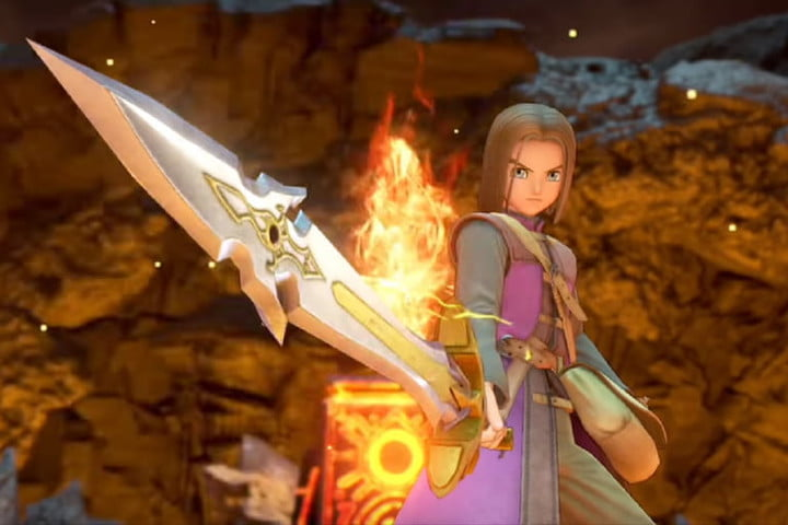 The Hero holding a sword in Dragon Quest 11.