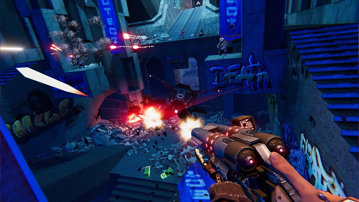 Leaping through the air, the player fires grenades from his shotgun.