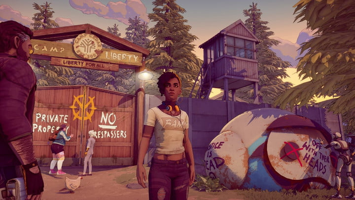 A young woman stands at the gate of a forest encampment in Dustborn.