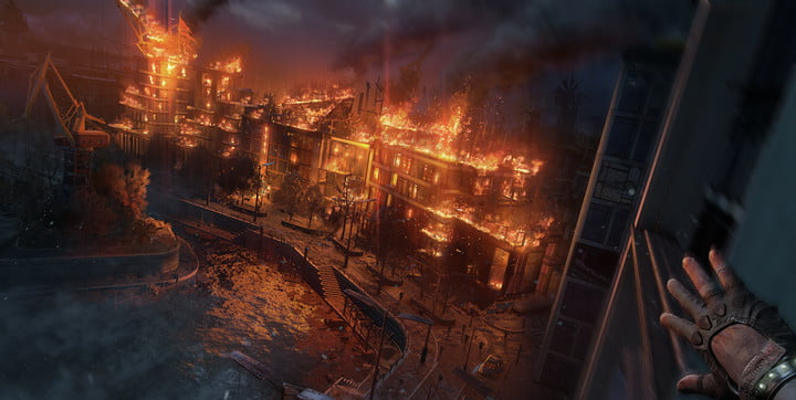 Buildings burning in Dying Light 2.