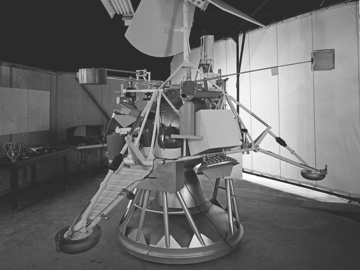 This photograph shows a model of the Surveyor lander.