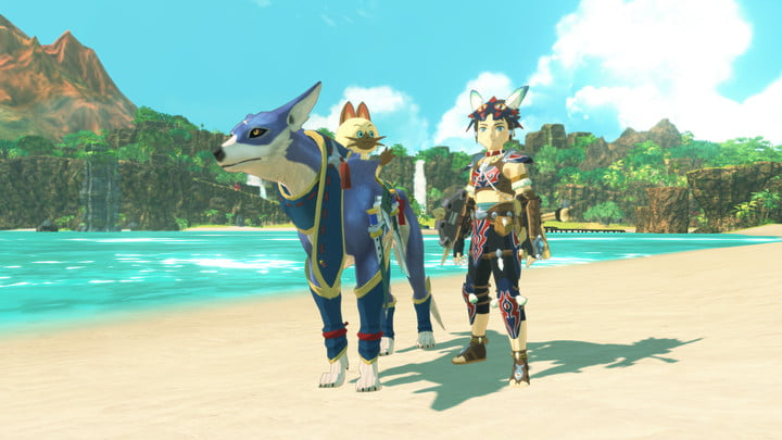 A hunter and a palamute in Monster Hunter Stories 2.