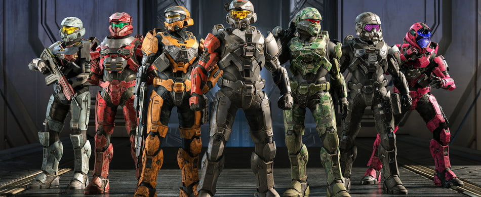 Several Spartans line up in Halo Infinite.