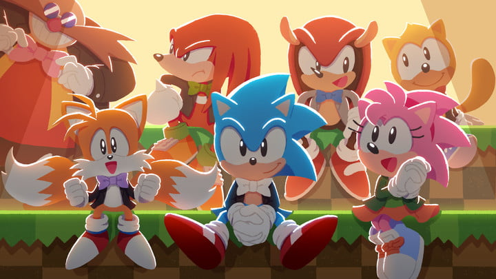 Sonic and his friends in tuxedos to promote the franchise's 30th anniversary concert.
