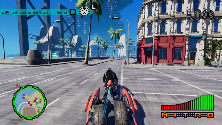 Travis Touchdown riding his motorcycle through the city.