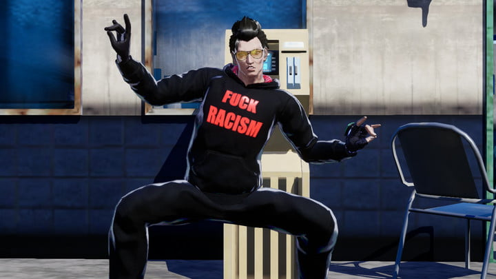 No More Heroes 3, Travis Touchdown doing a victory pose.