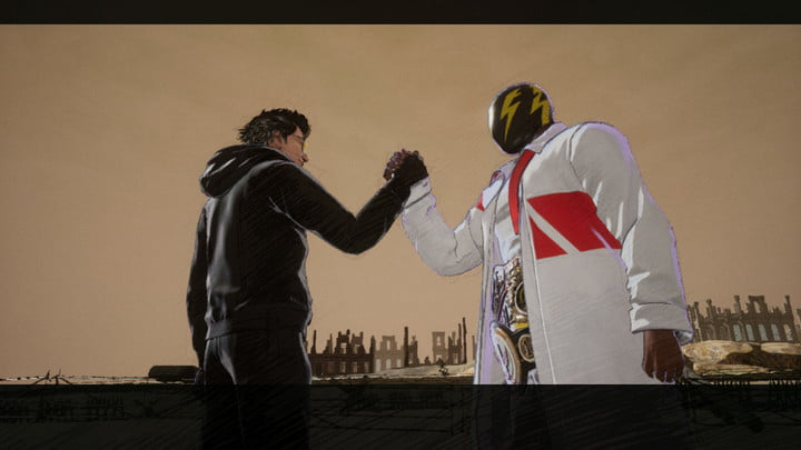 Travis Touchdown shaking hands with a new masked ally in No More Heroes 3.