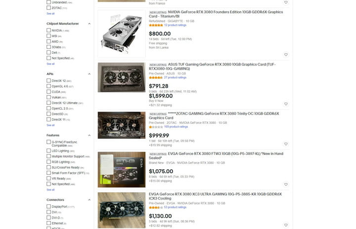 Listings for the RTX 3080 on eBay.