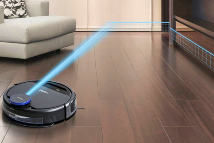 DEEBOT OZMO 930 using LiDAR for room mapping.