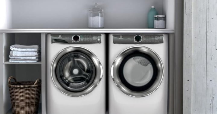 The Electrolux EFME627UIW in a laundry room.