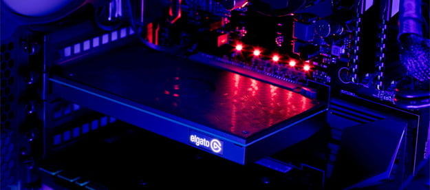 An Elgato 4K60 Pro capture card in a gaming rig.