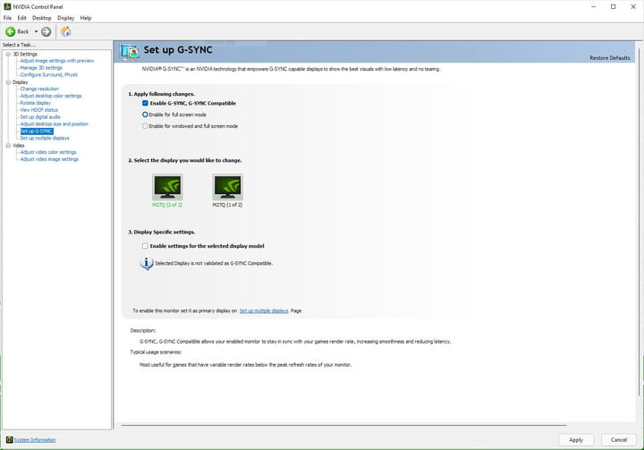G-Sync settings in the Nvidia Control Panel.