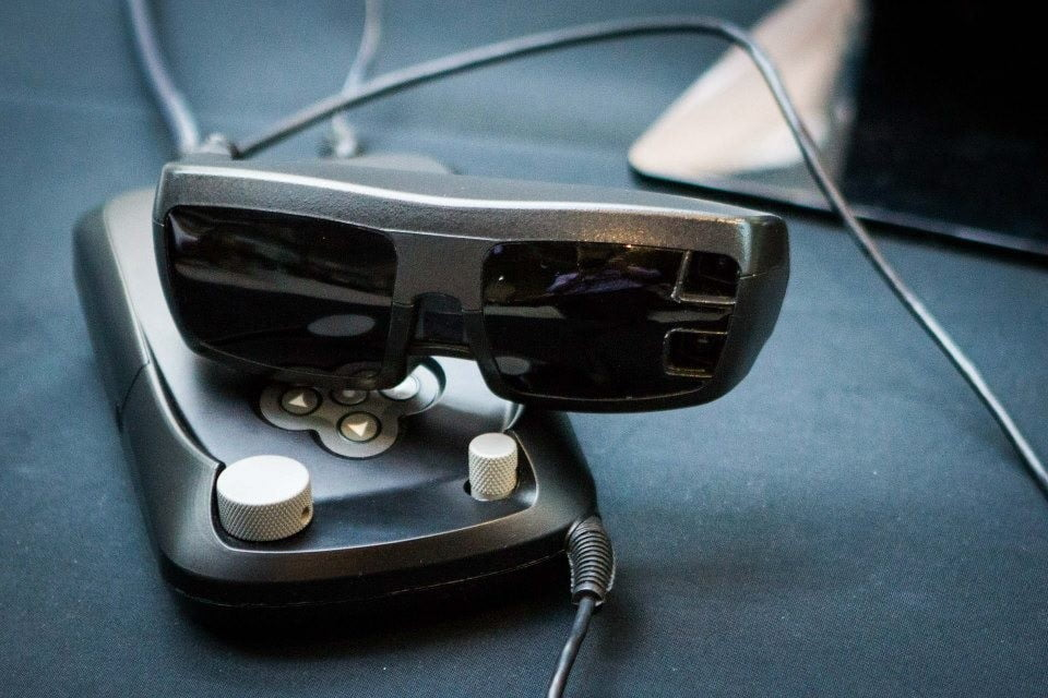 esight electronic glasses let a little blind boy see and controller