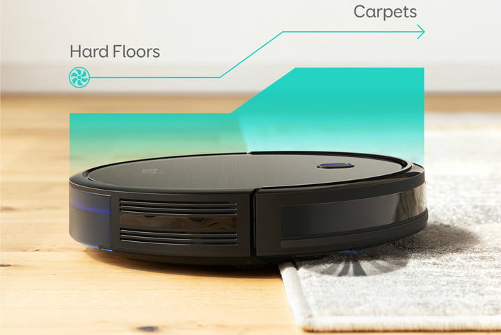 Eufy BoostIQ RoboVac 11S (Slim) moving between hard floor and carpet with ease.