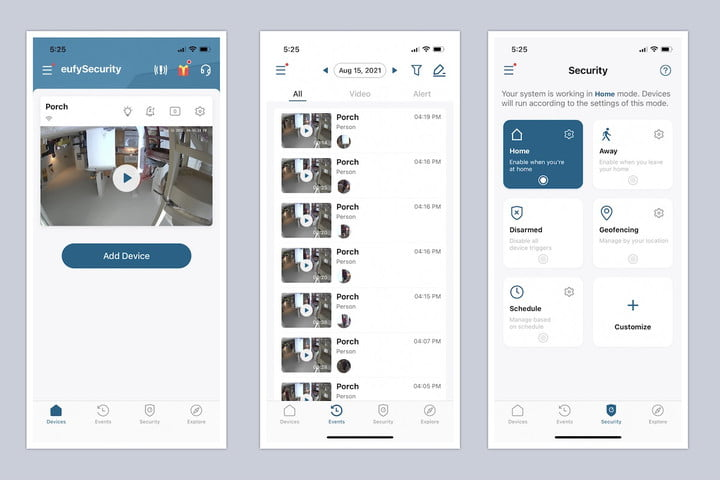 The various screens of the Eufy Security app.