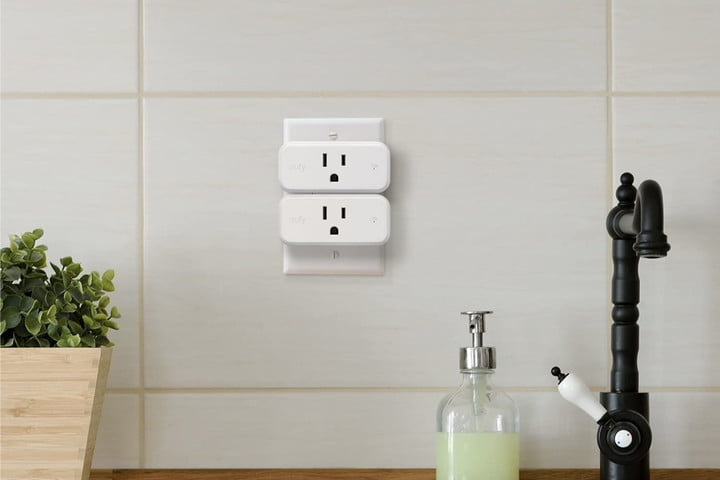 The Eufy Smart Plug Mini connected to a kitchen outlet.