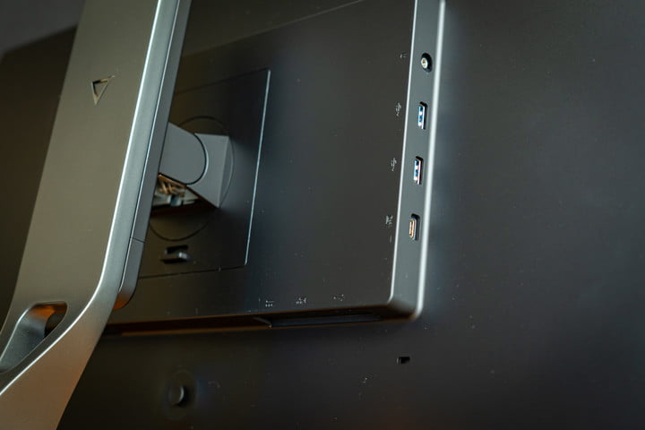The sideways ports on the back of the Eve Spectrum 4K.