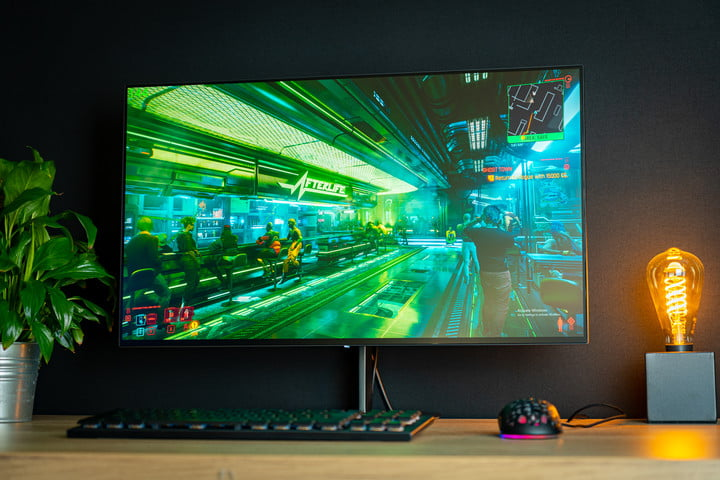 The Eve Spectrum 4K gaming monitor with Cyberpunk running on the screen.