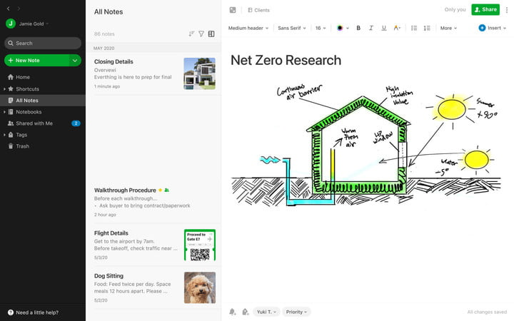Sketching and annotation feature on Evernote.