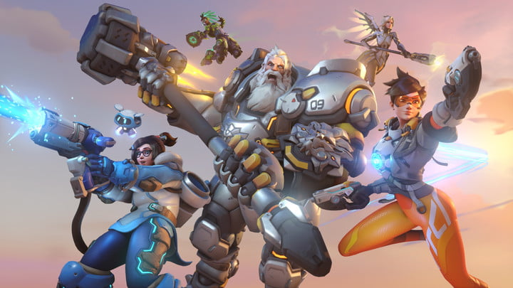 Mai, Tracer, Mercy, and other heroes leaping into action.