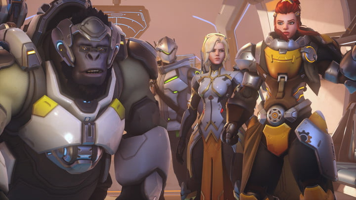 Winston and other heroes looking a little confused.