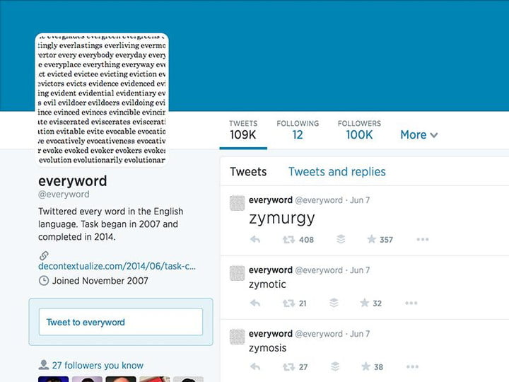 seven years everyword finishes tweeting dictionary