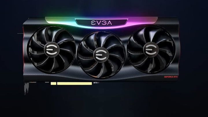 A black EVGA RTX 3090 graphics card with pastel RGB lighting on top.