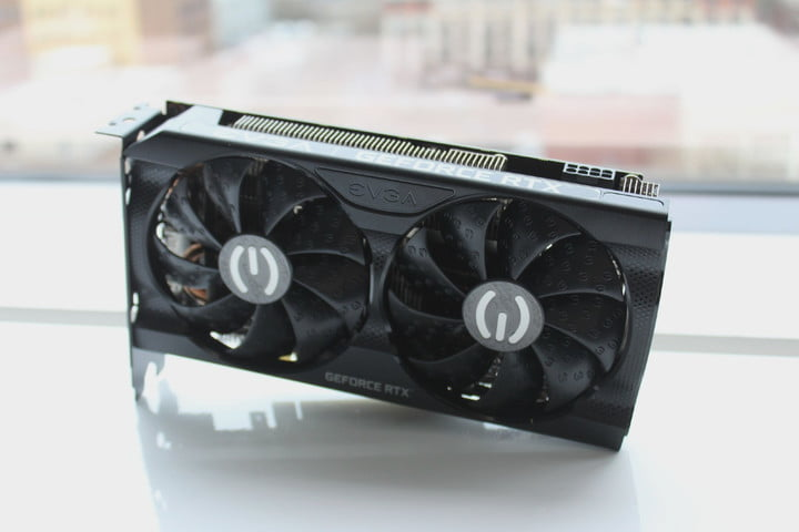 EVGA RTX 3060 graphics card sitting on a table.