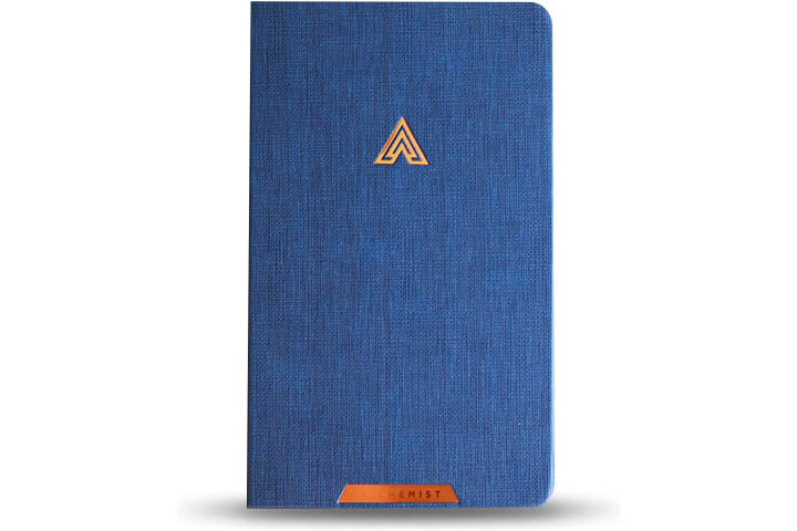 The EVO Smart Planner Notebook with a blue and copper cover.