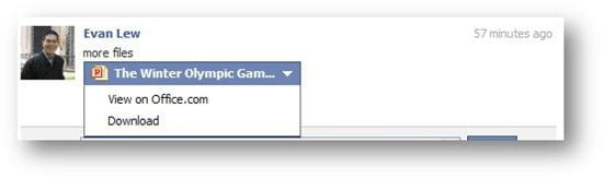 Example showing one-click PowerPoint integration with Facebook
