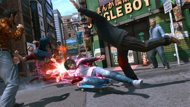 Yagami slide kicks an enemy in Lost Judgment.