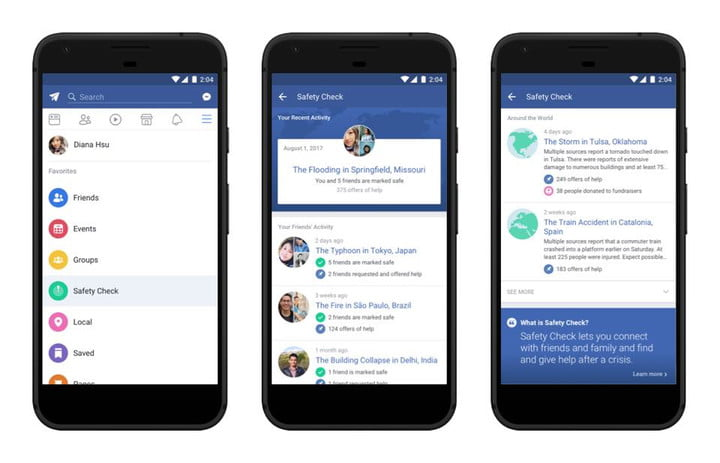facebook safety check new tab