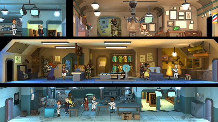 Vault dwellers completing various tasks in Fallout Shelter.